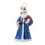 RADKO 1017908 SAPPHIRE NICHOLAS - BRILLIANT TREASURE - JEWELED SANTA WITH BLUE COAT ORNAMENT - NEW 2015 (15-13)