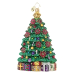 RADKO 1017910 POINSETTIA GALORE - TREE WITH POINSETTIAS & CANDLES ORNAMENT - NEW 2015 (15-13)
