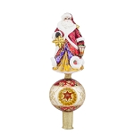 RADKO 1017913 GUIDING THE WAY FINIAL - JEWELED SANTA WITH STAR ON BALL WITH REFLECTOR - NEW 2015 (FIN-6)