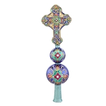 RADKO 1017914 REGAL ROOD SAPHIRE FINIAL - JEWELED CROSS ON 2 BALLS FINIAL  - NEW 2015 (FIN-6)