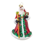 RADKO 1017926 FOREST WANDERER - SANTA WITH GARLAND & JEWELED STAFF ORNAMENT - NEW 2015 (15-13)