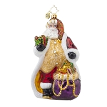 RADKO 1017928 GOLDEN DREAM SANTA - JEWELED SANTA WITH GOLD VEST ORNAMENT - NEW 2015 (15-13)