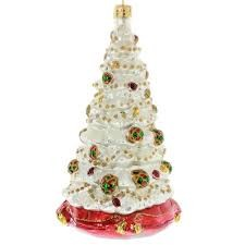 RADKO 1017935 WINTER SPRUCE MAJESTY - DECORATED WHITE TREE ORNAMENT - NEW 2015 (15-13)