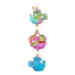 RADKO 1017937 PUFFY TRIO - 3 PUFFER FISH DANGLE ORNAMENT - NEW 2015 (15-14)