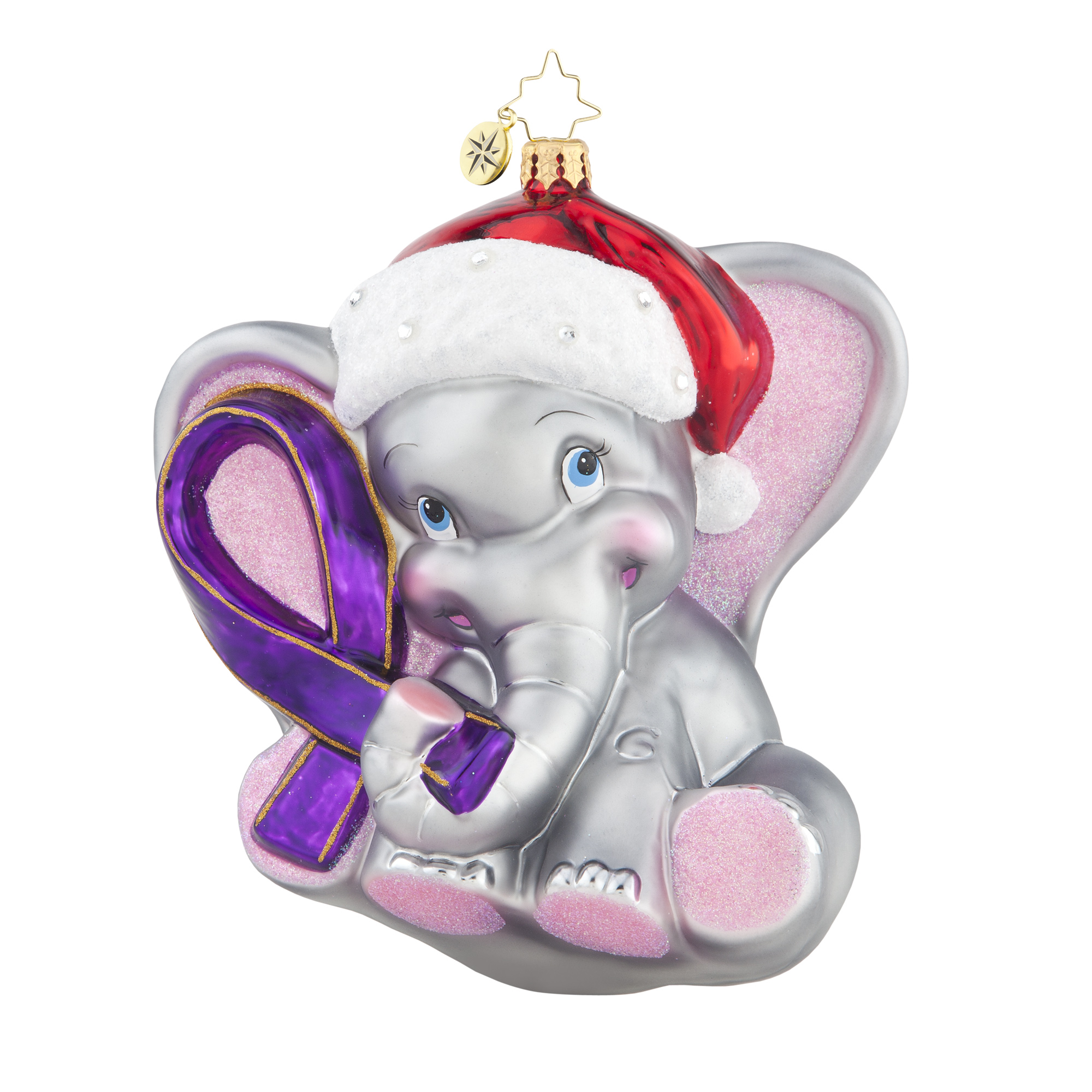 Breast cancer ornament - Radko 1017945 Ellie Alzheimer S Awareness Elephant Ornament New 2015 15 1