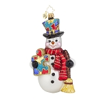 RADKO 1017951 SNOW FROST MEMORIES - AUTISM AWARENESS - SNOWMAN WITH SCARF AND BROOM ORNAMENT - NEW 2015 (15-1)