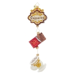 RADKO 1017956 CAPPUCCINO DELIGHT - CUP OF COFFEE & CHOCOLATE CANDY DANGLE ORNAMENT - NEW 2015 (15-14)