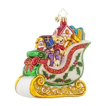 RADKO 1017960 HOLLY-DAY SLEIGH - SLEIGH WITH HOLLY LEAVES ORNAMENT - NEW 2015 (15-14)