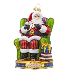 RADKO 1017971 HIS EYES HOW THEY TWINKLED - 'TWAS THE NIGHT BEFORE CHRISTMAS COLLECTION - SANTA IN CHAIR ORNAMENT - NEW 2015 (15-1)