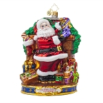 RADKO 1017974 STRAIGHT TO WORK - 'TWAS THE NIGHT BEFORE CHRISTMAS COLLECTION - SANTA FILLING STOCKINGS ORNAMENT - NEW 2015 (15-1)