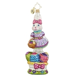 RADKO 1017983 WALKING ON EGGSHELLS - EASTER - BUNNY RABBIT & EASTER BASKET ORNAMENT - NEW 2015 (15-14)