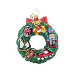 RADKO 1017992 TOYS FOR US - WREATH FILLED WITH TOYS ORNAMENT - NEW 2015 (15-15)