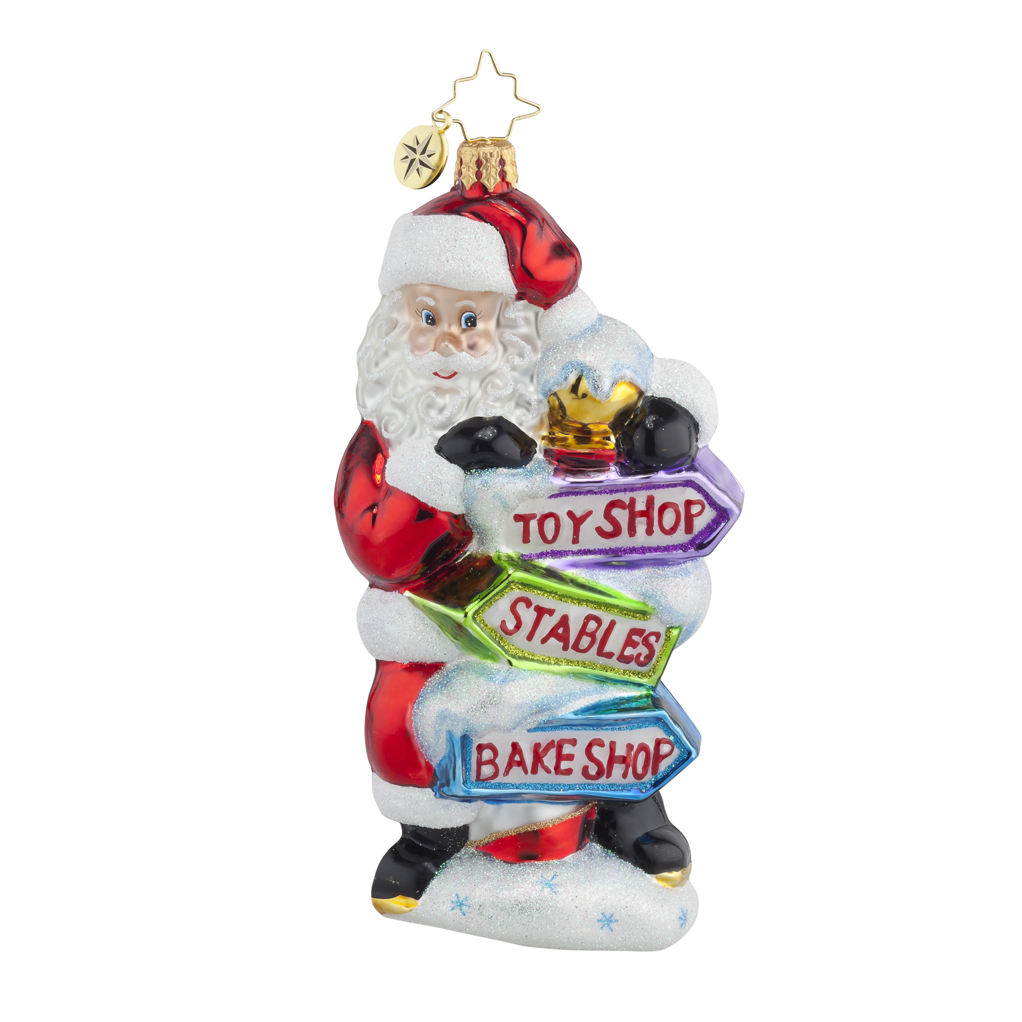 Radko 1017993 which way santa santa with signs ornament - Ornament tapete weiay ...