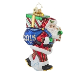 RADKO 1017997 PERFECT TIMING NICK 2015 - DATED 2015 - SANTA WITH BAG OF GIFTS ORNAMENT - NEW 2015 (15-2)