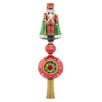 RADKO 1018000 GUARD ON TOP FINIAL - JEWELED NUTCRACKER ON BALL WITH FINIAL  - NEW 2015 (FIN-6)