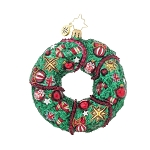 RADKO 1018019 DOOR DECOR - WREATH WITH CANDY CANES ORNAMENT - NEW 2015 (15-16)