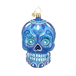RADKO 1018020 LA CALAVERA BLUE - HALLOWEEN - DAY OF THE DEAD - SKULL ORNAMENT - NEW FOR 2015 (H6)
