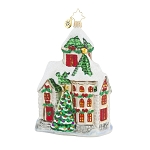 RADKO 1018027 WINTERTIME WINDSOR - SNOW COVERED HOUSE ORNAMENT - NEW 2015 (15-16)