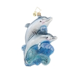 RADKO 1018028 A PLAYFUL PAIR - DOLPHINS ORNAMENT - NEW 2015 (15-16)