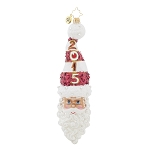 RADKO 1018113 KRINGLE TWIST 2015 - DATED 2015 - SANTA WITH STOCKING CAP ORNAMENT - NEW 2015 (15-2)