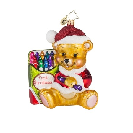 RADKO 1018115 COLOR ME CUTE! - FIRST CHRISTMAS - NOT DATED - TEDDY BEAR WITH CRAYONS ORNAMENT - NEW 2016 (16-3)