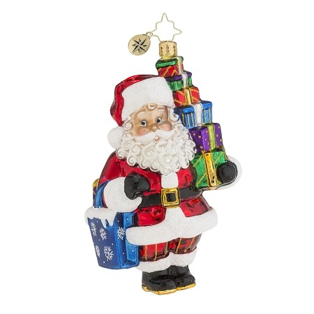 RADKO 1018118 PRESENTS TO GO! - SANTA WITH STACK OF PRESENTS ORNAMENT - NEW 2016 (16-3)