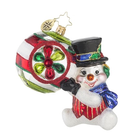 RADKO 1018120 SHINY AND BRITE - SNOWMAN HOLDING ORNAMENT - NEW 2016 (16-3)