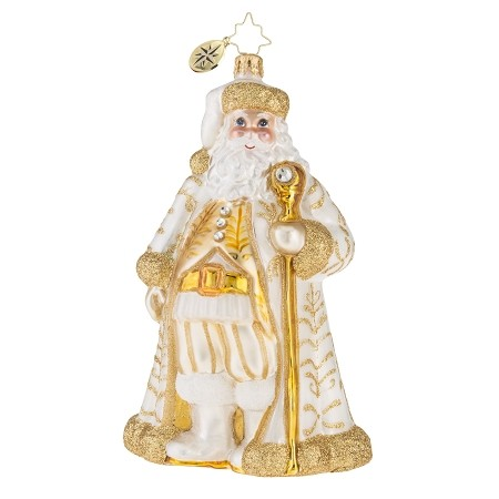RADKO 1018123 GOLDEN BAROQUE NICHOLAS - GOLD JEWELED SANTA WITH STAFF ORNAMENT - NEW 2016 (16-3)