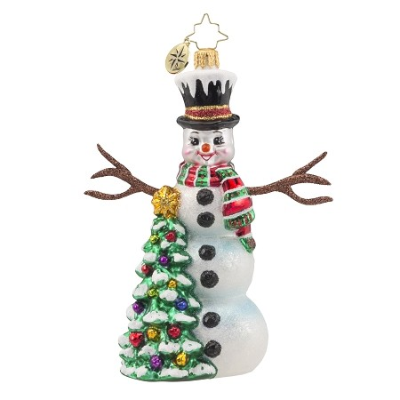RADKO 1018126 SNOWY SPARKLER -  SNOWMAN WITH STICK ARMS AND TREE ORNAMENT - NEW 2016 (16-3)