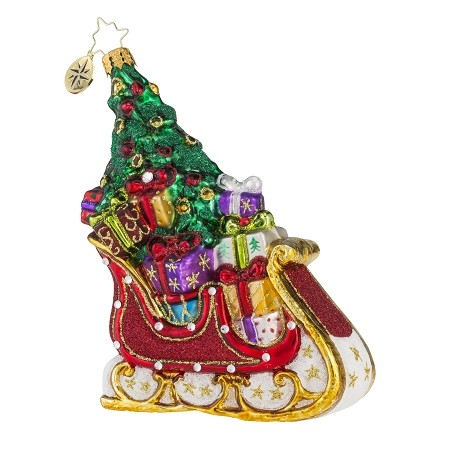 RADKO 1018136 SERENDIPITY SLEIGH - JEWELED SLEIGH FULL OF GIFTS & TREE ORNAMENT - NEW 2016 (16-3)