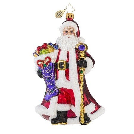 RADKO 1018148 NOBLE NICHOLAS - SANTA WITH STOCKING & STAFF ORNAMENT - NEW 2016 (16-4)
