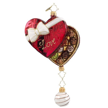 RADKO 1018154 BOX OF LOVE - VALENTINE - HEART SHAPED BOX OF CANDY WITH DANGLE ORNAMENT - NEW 2016 (16-4)