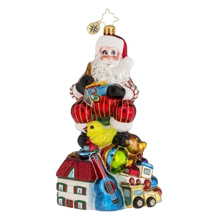 RADKO 1018169 CHEERFULLY CRAFTED - SANTA & TOYS ORNAMENT - MID YEAR RELEASE - NEW 2015 (15-18)