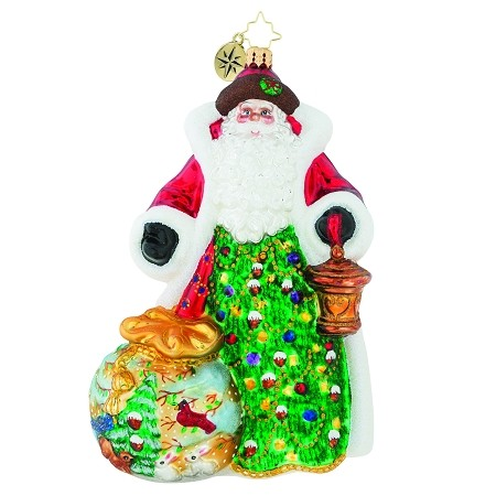 RADKO 1019437 A GIFT OF NATURE - LIMITED EDITION OF 1224 - SANTA WITH HAND PAINTED BAG ORNAMENT - NEW 2018 (18-1)