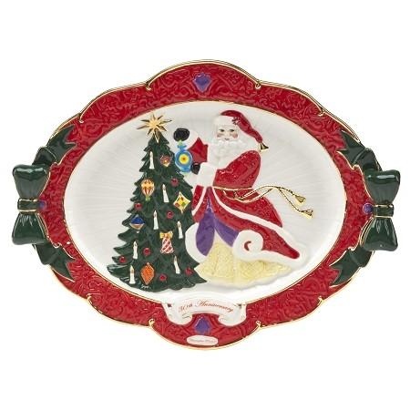 RADKO 2012075 HANGING WITH JOY PLATTER - 30TH ANNIVERSARY COLLECTION - SANTA & TREE PLATTER - NEW 2015