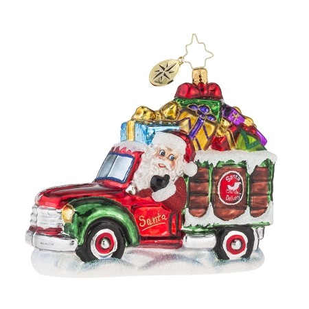 RADKO 1018159 DECEMBER DELIVERY - SANTA DRIVING TRUCK FULL OF PRESENTS ORNAMENT - NEW 2016 (16-4)