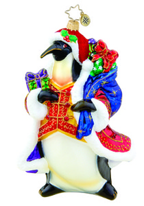 RADKO 1015507 GIFT GIVING EMPEROR - PENGUIN WITH GIFTS - GIFT STORE EXCLUSIVE ORNAMENT - NEW 2011 (11-4)