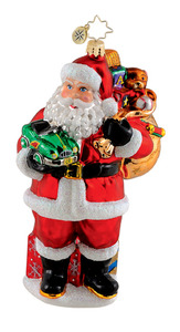 RADKO 1015286 TONS OF TOYS - SANTA ORNAMENT - NEW 2011 (Q10)