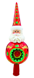 RADKO 1015813 NICHOLAS SPLENDOR FINIAL - SANTA WITH REFLECTOR - TREE TOPPER - NEW 2011