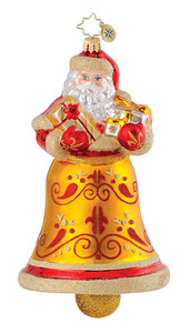 RADKO 1014909 GOLDEN CHIME NICK - SANTA BELL - RETIRED ORNAMENT (Q8)