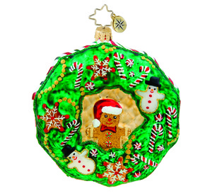 RADKO 1015485 SWEET TREAT WREATH - WREATH WITH CANDY & GINGERBREAD MAN - NEW 2011 (11-6)