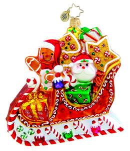 RADKO 1015430 SLEIGHTIME SWEETS - SLEIGH WITH GINGERBREAD & CANDY - NEW 2011 (11-9)