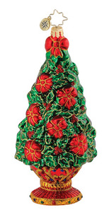RADKO 1014983 HOLLY DAY DISPLAY - POINSETTIA TREE - RETIRED ORNAMENT (Q8)