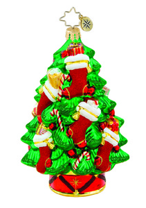 RADKO 1015551 RED WRAP UP - TREE WITH STOCKINGS - NEW 2011 (11-8)