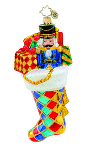 RADKO 1015539 HARLEQUIN GIFT TOTE - STOCKING WITH NUTCRACKER - NEW 2011 (11-11)