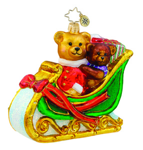 RADKO 1015701 BEARS THAT CARE - PEDIATRIC CANCER AWARENESS - TEDDY BEARS IN SLEIGH - NEW 2011 (11-1)