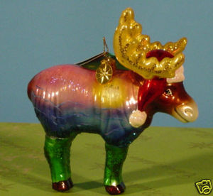 RADKO 3011574 SILK CHERMOOSE - MOOSE - RECOLORED - RETIRED ORNAMENT (QQ)
