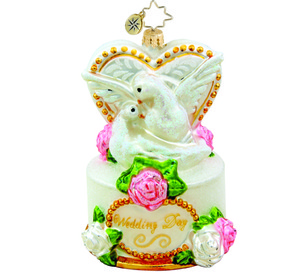 RADKO 1015455 WEDDING DAY DOVES - WEDDING CAKE ORNAMENT - NEW 2011 (11-4)