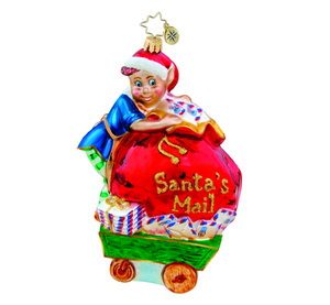 RADKO 1015661 MAIL ROOM MESSENGER - SANTA'S MAIL BAG - ELF ORNAMENT - NEW 2011 (11-4)