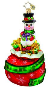 RADKO 1015573 TIP TOP SNOWCHUM - SNOWMAN ON GIFT BAG ORNAMENT - NEW 2011 (11-6)